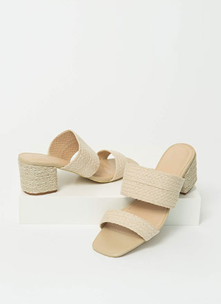 In The Basket Braided Block Heels