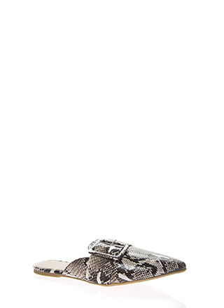 Snake Out Pointy Buckled Mule Flats