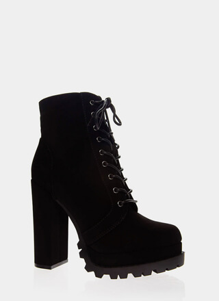 Lug Of My Life Faux Nubuck Booties