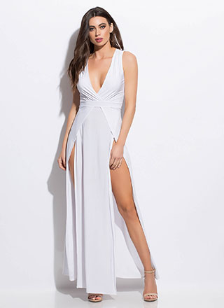 2 Hot Plunging Double Slit Maxi Dress