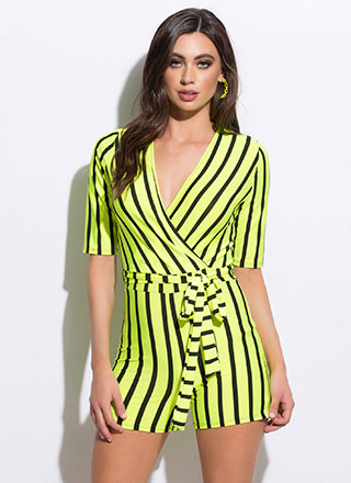 I Always Stripe Right Tied Romper