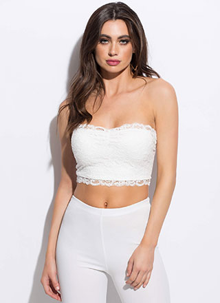 Lace Be Sweethearts Cropped Tube Top
