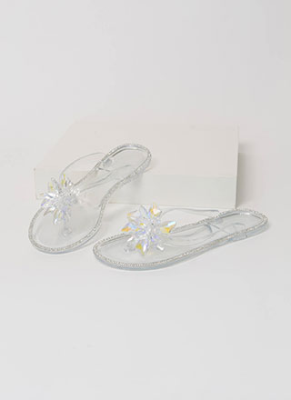 Jewels And Flowers Jelly Thong Sandals