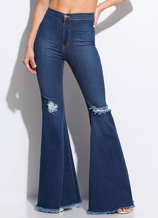 Go Retro Fringed Bell-Bottom Jeans