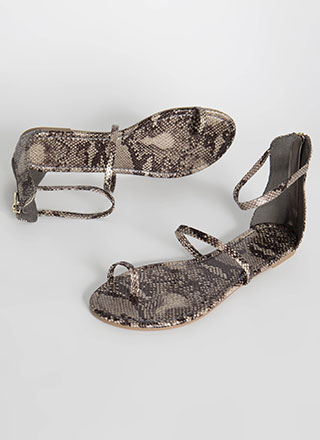 Simple Math Triple Strap Snake Sandals