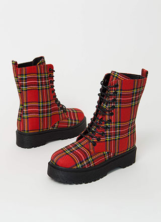 Punk Movement Plaid Combat Boots