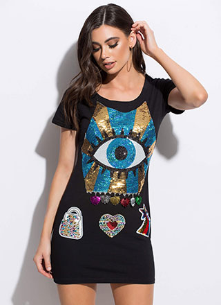 Eye See You Sequined Graphic Minidress