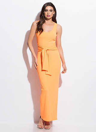 Fit To Be Tied Rib Knit Maxi Dress