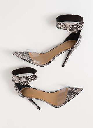 Reptile Clear Strap Faux Snake Heels