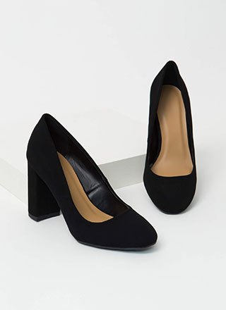 Round One Chunky Faux Nubuck Pumps