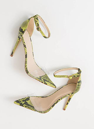 Snake Your Claim Clear Strap Heels