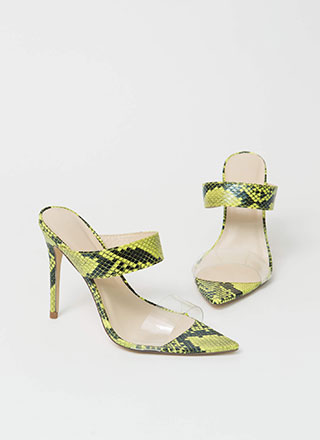 Clear My Name Strappy Snake Heels