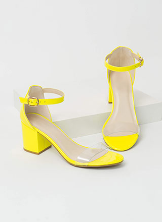 Clear Conscience Faux Patent Block Heels