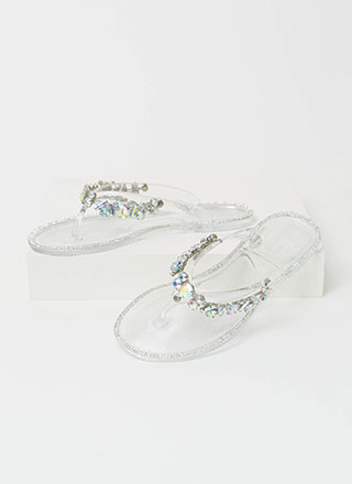 Jewel Collection Jelly Thong Sandals