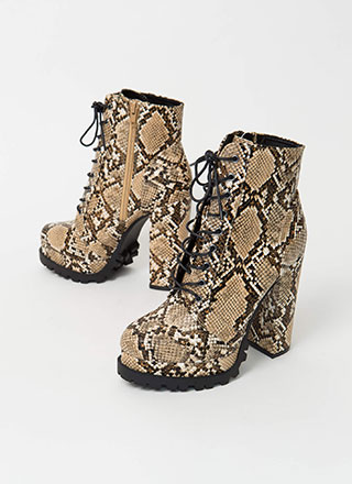 It's True Lug Chunky Faux Snake Booties