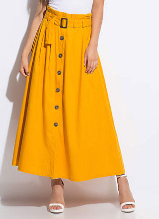 So Chic Belted Button-Front Maxi Skirt
