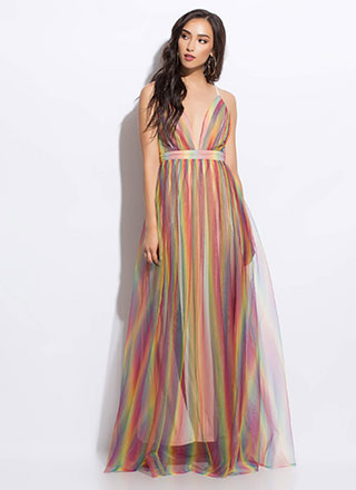 Colorful Night Rainbow Tulle Gown