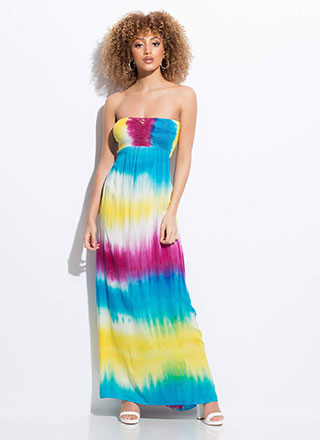 Beachbound Strapless Tie-Dye Maxi Dress