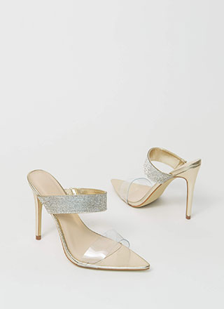 Jewel Metallic Clear Strap Mule Heels