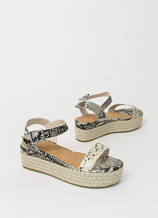Beachy Braided Faux Snake Wedge Sandals