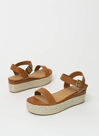 Beachy Strappy Braided Wedge Sandals