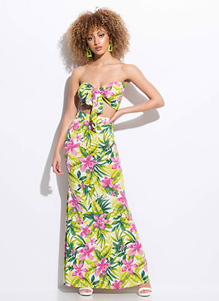 Exotic Flower Tropical 2-Piece Dress