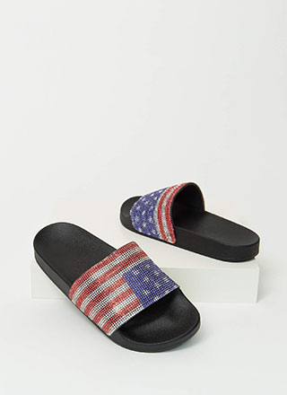 Star-Spangled Jeweled Flag Slide Sandals
