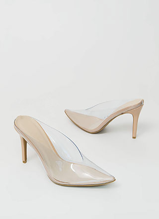 How Low Clear Pointy Mule Heels
