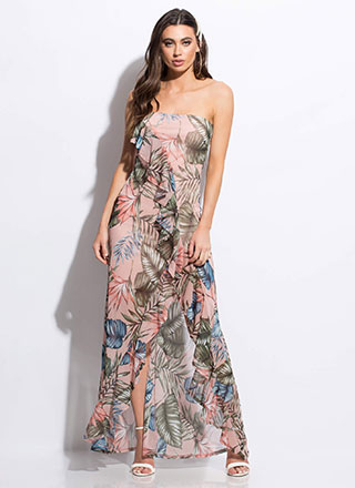 Leafy Paradise Ruffled Mesh Maxi Dress