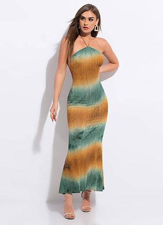 Take A Dip-Dyed Halter Maxi Dress