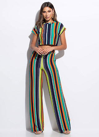 Serious Stripes Top And Pant Set