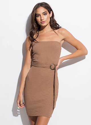 Belted Beauty Rib Knit Tube Dress