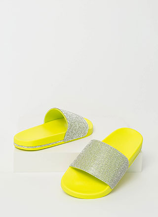 Bling On The Sun Jeweled Slide Sandals