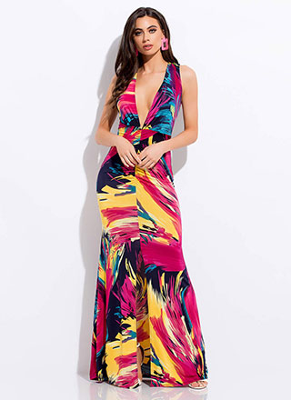 Brush With Fate Plunging Maxi Dress