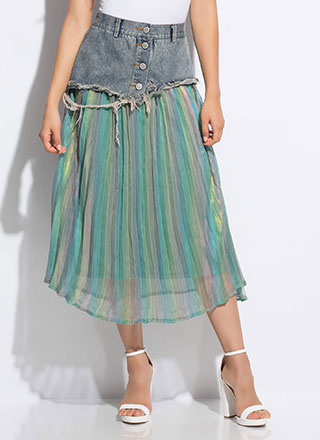 Yes Pleats Destroyed Denim Maxi Skirt