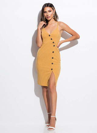 Press All My Buttons Ribbed Midi Dress