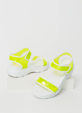 Clearly Sporty Strappy Platform Sandals