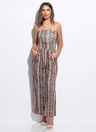 Snake Skin Strapless Palazzo Jumpsuit