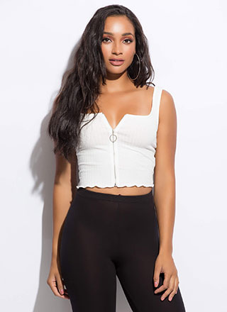 Zip Code Cropped Rib Knit Tank Top