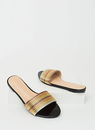 Stacked Up Faux Patent Slide Sandals