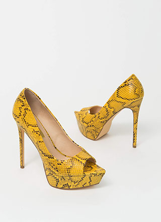 Snake It Off Peep-Toe Platform Pumps