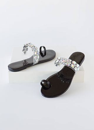 Precious Gem Jeweled Clear Strap Sandals