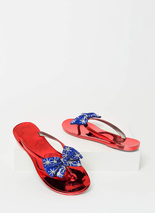 Bow For It Sparkly Jelly Thong Sandals