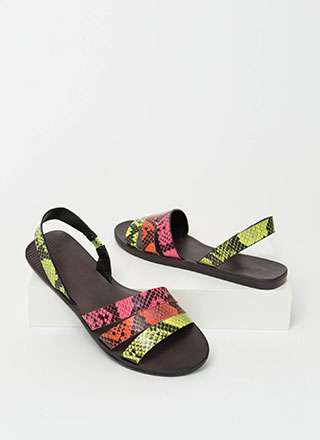 Slingback Story Faux Snake Sandals