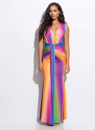 Color Me Glam Plunging Draped Gown