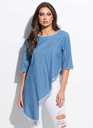 What's The Cut-Off High-Low Chambray Top