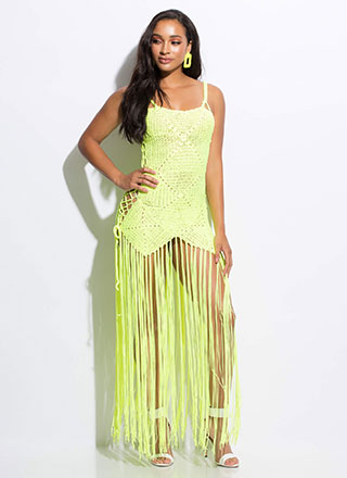 Knit's So Hot Lace-Up Fringed Maxi Dress