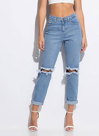 Babe Ripped Knee Boyfriend Jeans