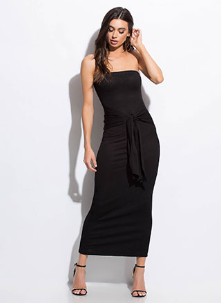It's A Tie Strapless Rib Knit Maxi Dress