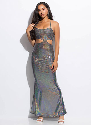 Doll Of The Ball Sparkly Cut-Out Gown